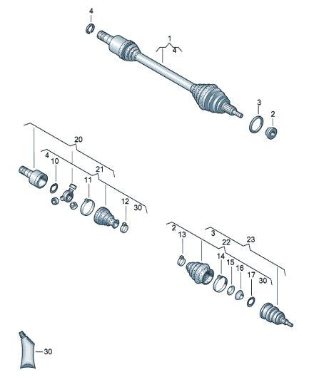 Вал приводной для VW Polo седан