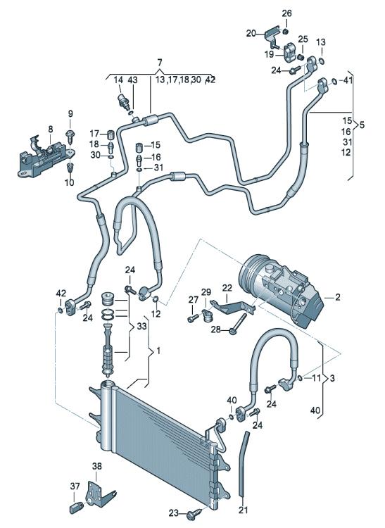 Pадиатор кондиционера VW Polo седан