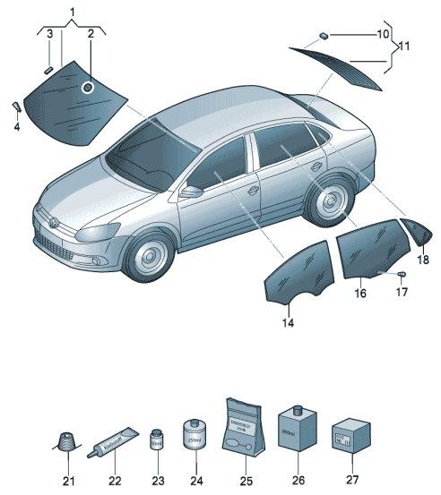 Стекла для VW Polo седан