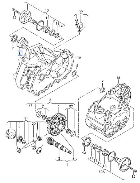 02K 498 210.  Ведомое колесо с корпусом дифференциала.  5). смотри иллюстр.