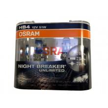 Галогенная лампа (2 шт) для VW Polo седан (с 2010 г.в. по н.в.), Osram HB4 Night Breaker Unlimited +110% света