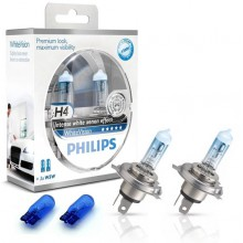 Галогенная лампа (H4 2 шт. + W5W 2шт.) для VW Polo седан (с 2010 г.в. по н.в.), Philips WhiteVision