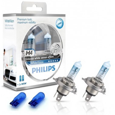 Галогенная лампа (H4 2 шт. + W5W 2шт.) для VW Polo седан (с 2010 г.в. по н.в.), Philips WhiteVision