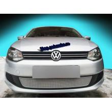 Защита радиатора VW Polo седан PREMIUM  (c 2010 г.в. по 2015 г.в.) (хром)
