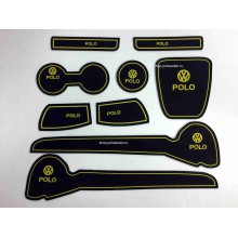 Набор силиконовых ковриков в WV Polo седан (Желтые)