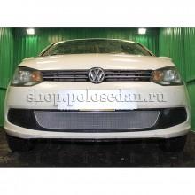 Защита радиатора VW Polo седан OPTIMAL (c 2010 г.в. по 2015 г.в.) (хром)