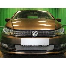 Защитная сетка радиатора верхняя (хром) для VW Polo седан (с 2015 г.в.)