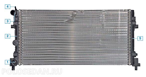 Радиатор системы охлаждения VW Polo седан