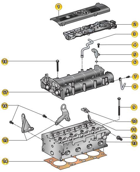 Головка блока цилиндров двигателя VW Polo седан